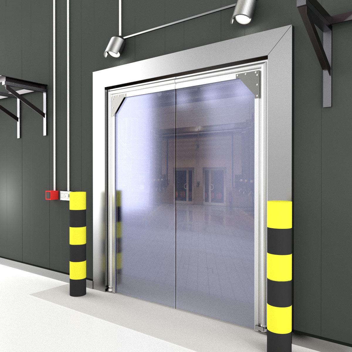 Single panel pvc crash door crash doors for 1 panel door