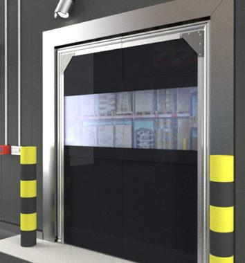 Triple panel pvc crash door