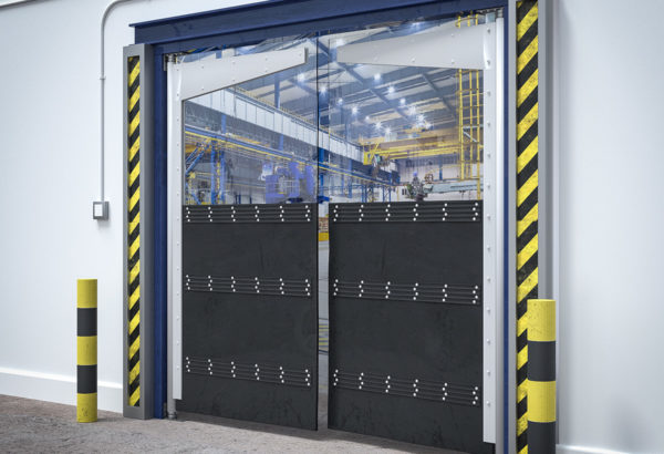 half rubber half pvc warehouse swing door